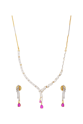 TUAN Lovely Diamond Necklace Set For Women (INK-785) (Use Code FB20 To Get 20% Off On Purchase Of Rs.1800)