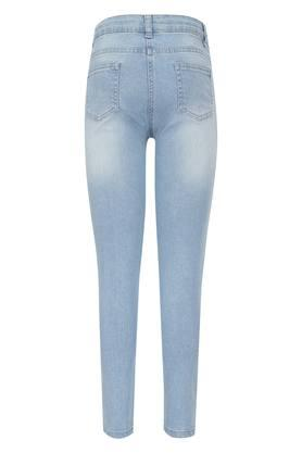 Girls 5 Pocket Printed Mild Wash Jeans