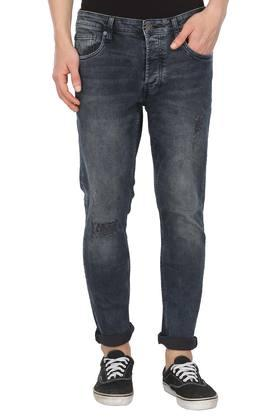 Mens 5 Pocket Distressed Jeans