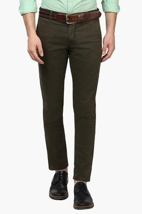 PARX Mens Tapered Fit 4 Pocket Solid Trousers  ... - 202134149