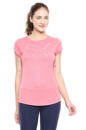 Womens Round Neck Slub Sports T-Shirt