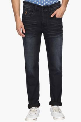 U.S. POLO ASSN. DENIM Mens 5 Pocket Slim Tapered Fit Mild Wash Jeans (Delta Fit)