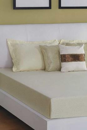 ST CLOUD Cream 300 TC Jacquard King Bedsheet With 2 Pillow Cover (Bedsheet Set (King) - 202234197