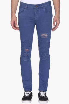 Mens 5 Pocket Rinse Wash Distressed Jeans