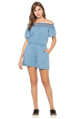 Womens Off Shoulder Neck Washed Playsuit
