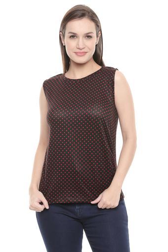 Womens Round Neck Dot Pattern Sweater
