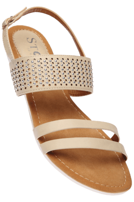 STOP Womens Beige Ricci Party Wear Wedge Sandal