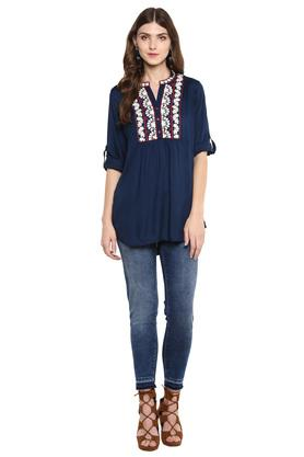 Womens Mandarin Collar Embroidered Tunic