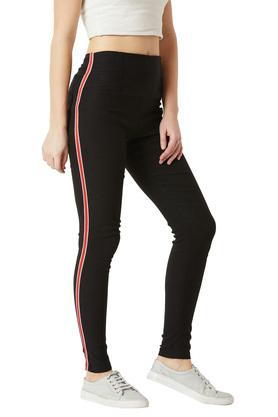 Womens Slim Fit Coated Twill Tape Detailing Jeggings