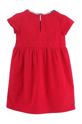 Girls Round Neck Solid Pleated Dress