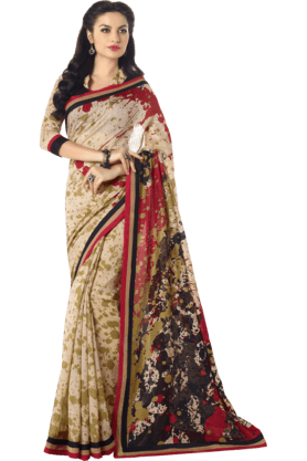 DEMARCAWomens Printed Saree (Buy Any Demarca Product & Get A Pair Of Matching Earrings Free)