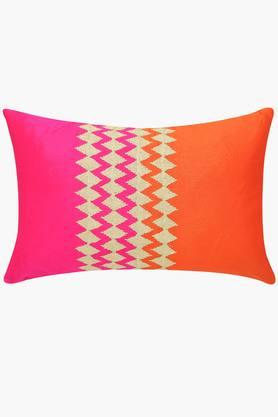 Colour Block Embroidered Rectangular Cushion Cover