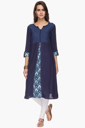 IMARA Womens Round Neck Embroidered Printed Kurta