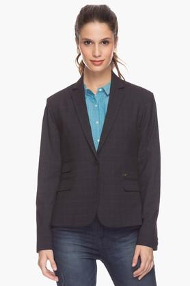 PARK AVENUE Womens Notched Lapel Check Jacket