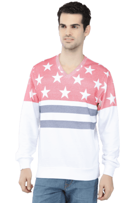 IZOD Mens Full Sleeves V Neck Slim Fit Printed Sweatshirts