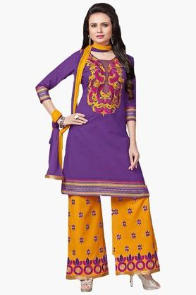 ISHIN Womens Embroidered Unstitched Dress Material