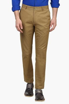 PARX Mens Slim Fit 4 Pocket Solid Trousers  ... - 202134162
