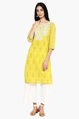 Women Poly Cotton Straight Kurta - 202178473