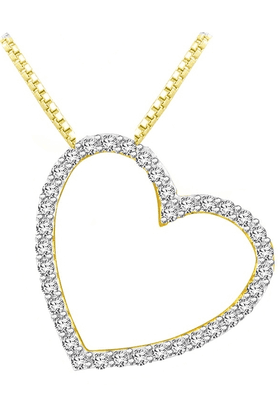 SPARKLES Beautiful 18kt Gold And Real Diamonds Heart Shaped Pendant With Gold Plated Silver Chain