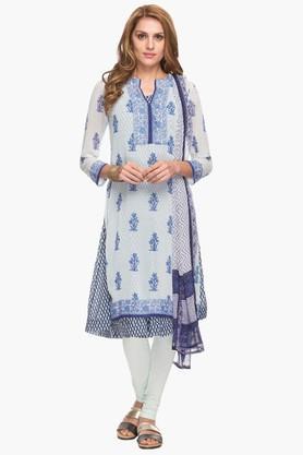 BIBAWomens Notched Neck Printed Churidar Suit
