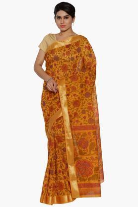 JASHNWomen Floral Print Cotton Saree - 202444527