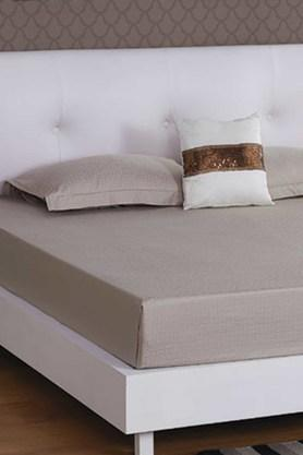 ST CLOUD Light Brown 300 TC Jacquard King Bedsheet With 2 Pillow Cover (Bedsheet Set (King XL)