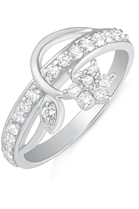 MAHI Mahi Rhodium Plated Elegant Floret Finger Ring With CZ For Women FR1100497R