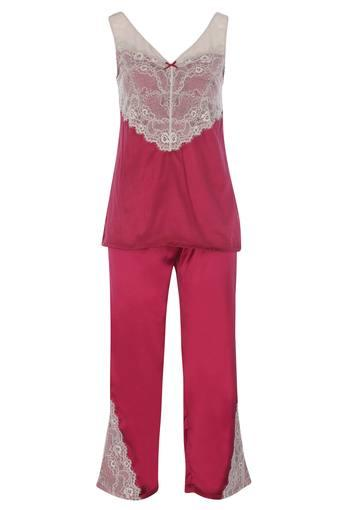 Womens V Neck Lace Top and Pants Set