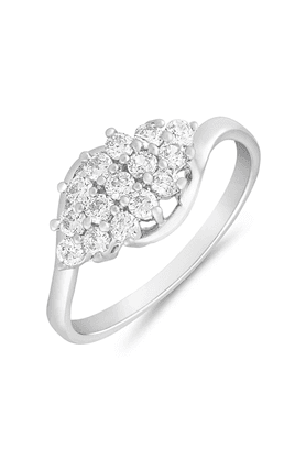 MAHI Mahi Rhodium Plated Blooming Entice Finger Ring With CZ For Women FR1100633R