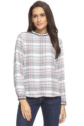 Womens Mandarin Collar Checked Shirt