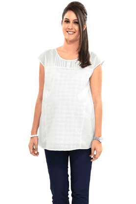 NINE MATERNITY Wear Elegant White Blouse With Hakoba Trim