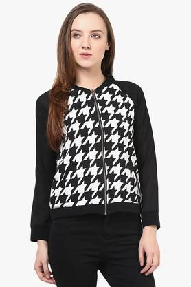 Womens Collared Neck Printed Jacket