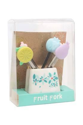 Fruit Motif Fruit Fork with Holder - Set of 6