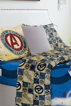 SPACESMarvel Avengers Blue Double Bed Sheet With 2 Pillow Covers