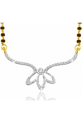 SPARKLES Gold Mangalsutra With Diamond Pendant Set - N9252