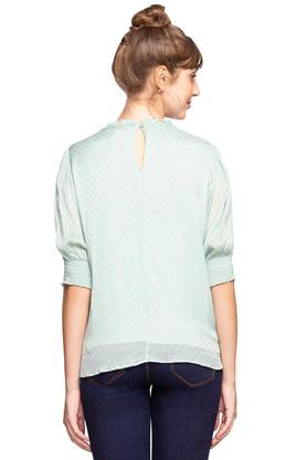 Womens Ruffled Collar Dot Pattern Top