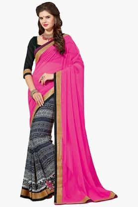 ASHIKA Womens Printed Mukesh Work Chiffon Saree
