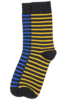 STOP Men Striped Crew-length Socks (Set Of 2) - 7642374