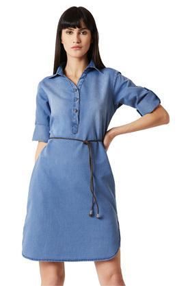 Womens Washed Shirt Dress