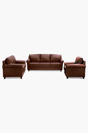 Warm Tan Leatherette Sofa (3-2-1 Sofa Set)
