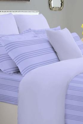 SPACESForever Classic Stripe Purple 400 TC Cotton King XL Bed Sheet With 4 Pillow Covers