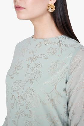 Womens Straight Fit Round Neck Printed Top