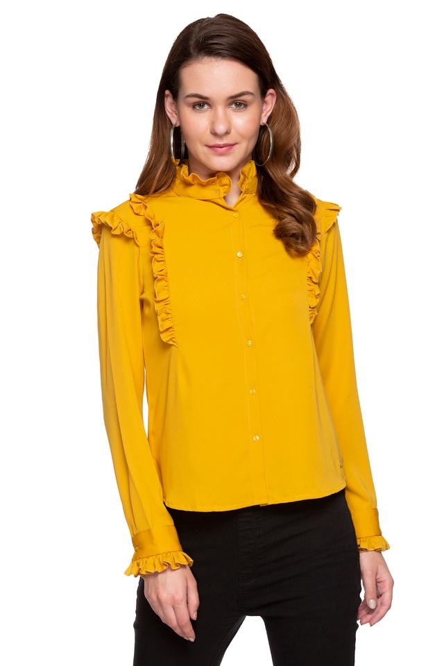 Womens Ruffled Collar Solid Shirt