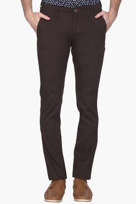 ALLEN SOLLY Mens Slim Fit 4 Pocket Solid Chinos - 202104390
