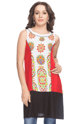 IMARA Womens Sleeveless Printed Kurta