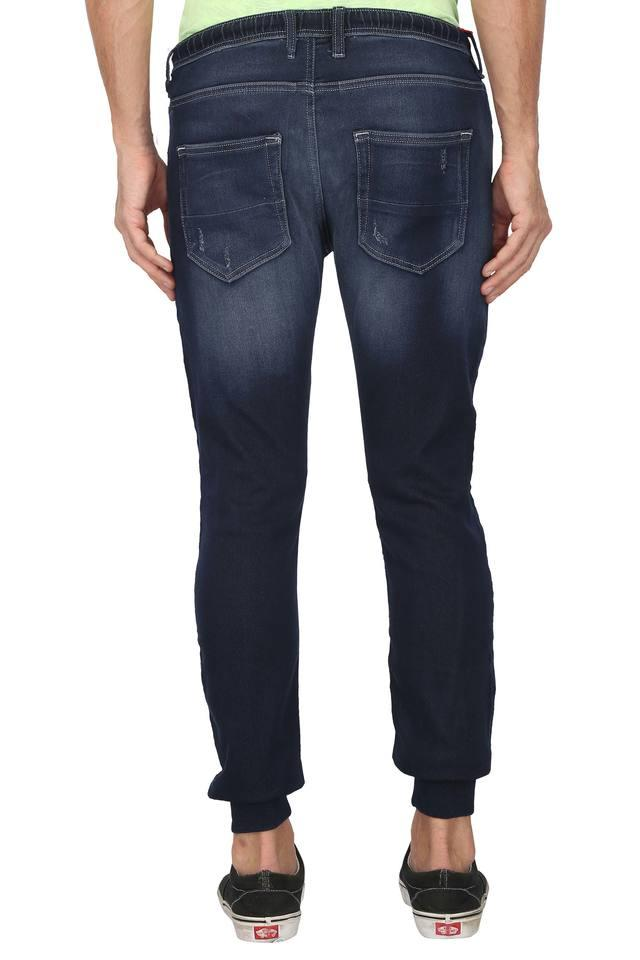 Mens 5 Pocket Mild Wash Distressed Joggers