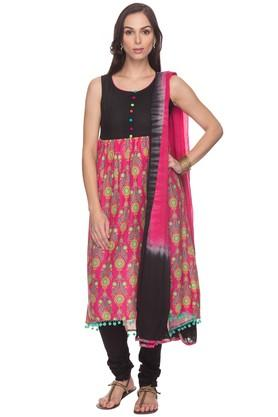 HAUTE CURRY Womens Printed Churidar Suit - 201405983