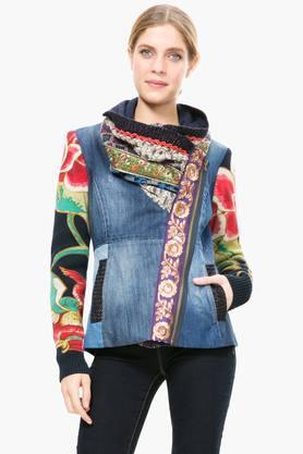 DESIGUALWomens Cowl Neck Embroidered Jacket
