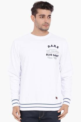 BLUE SAINT Mens White Solid Sweatshirt