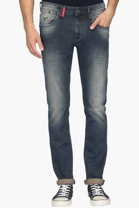 FLYING MACHINE Mens Tapered Fit 5 Pocket Heavy Wash Jeans (Micheal Fit) - 202045324